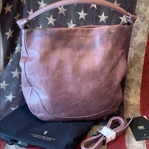 💜NWT FRYE Melissa Lilac Distressed Leather Hobo